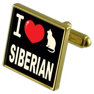 【送料無料】メンズアクセサリ― カフスボタンマネークリップシベリアンi love my cat goldtone cufflinks money clip siberian