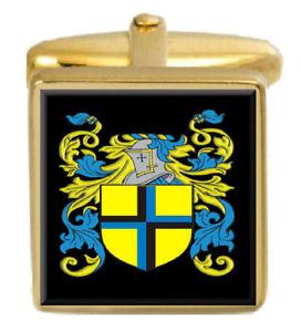 【送料無料】メンズアクセサリ― カフスリンクpate england family crest surname coat of arms gold cufflinks engraved box