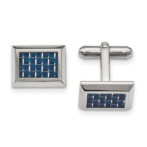 【送料無料】メンズアクセサリ― ステンレスカフスリンクmsrp124stainless steel polished with blue carbon fiber inlay cuff links msrp 124