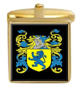 【送料無料】メンズアクセサリ― アイルランドカフスボタンボックスコートfahie ireland family crest surname coat of arms gold cufflinks engraved box