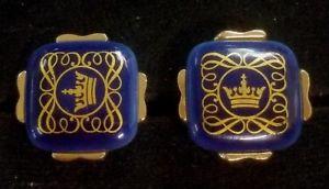 【送料無料】メンズアクセサリ― コペンハーゲン78カフスリンク*rb1 20signed royal copenhagen crest porcelain 78 blue gold crown cuff links *rb1 20