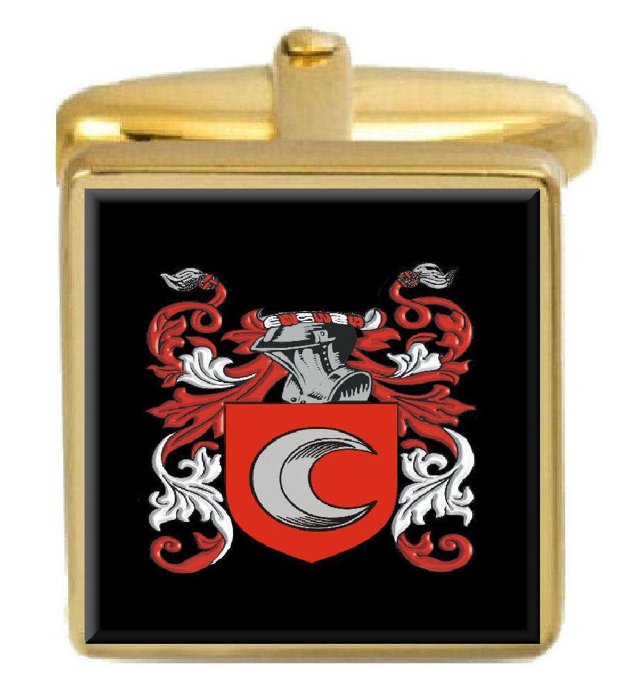 【送料無料】メンズアクセサリ― ヘイズカフスリンクhayes england family crest surname coat of arms gold cufflinks engraved box
