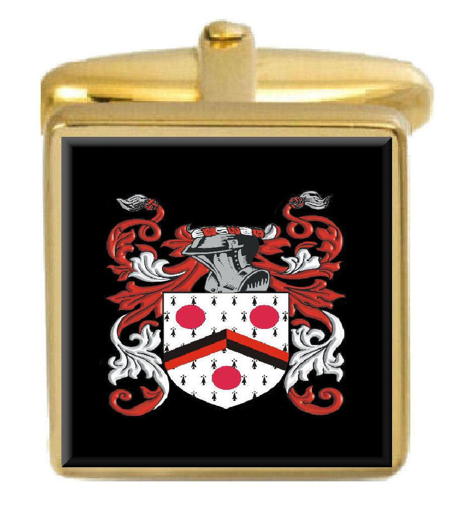 【送料無料】メンズアクセサリ― キャップカフスリンクcapper england family crest surname coat of arms gold cufflinks engraved box
