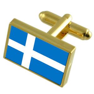 【送料無料】メンズアクセサリ― シティエストニアゴールドフラッグカフスボタンボックスparnu city estonia gold flag cufflinks engraved box