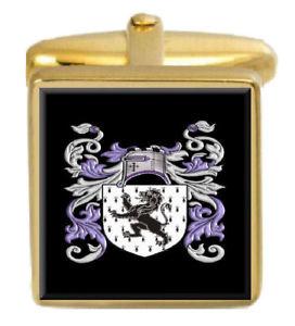 【送料無料】メンズアクセサリ― ジョーンズウェールズカフスボタンボックスコートjones wales family crest surname coat of arms gold cufflinks engraved box
