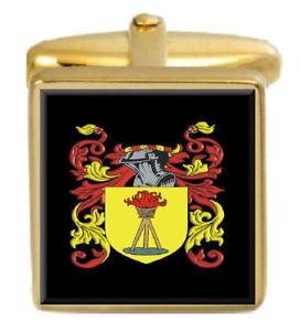 【送料無料】メンズアクセサリ― ギルドイングランドカフスボタンボックスコートguild england family crest surname coat of arms gold cufflinks engraved box