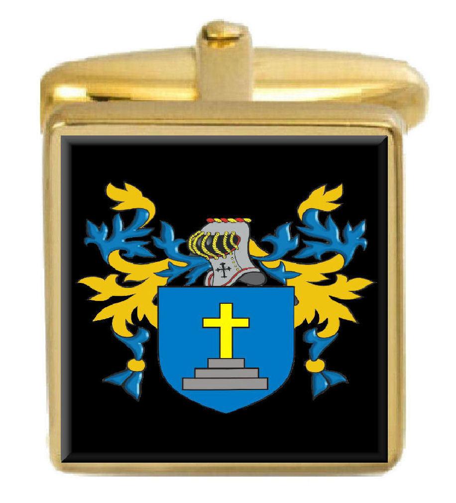 【送料無料】メンズアクセサリ― siggsカフスリンクsiggs england family crest surname coat of arms gold cufflinks engraved box