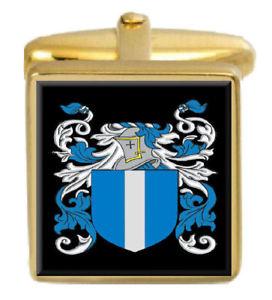 【送料無料】メンズアクセサリ― ホイートストンイングランドカフスボタンボックスコートwheatstone england family crest surname coat of arms gold cufflinks engraved box