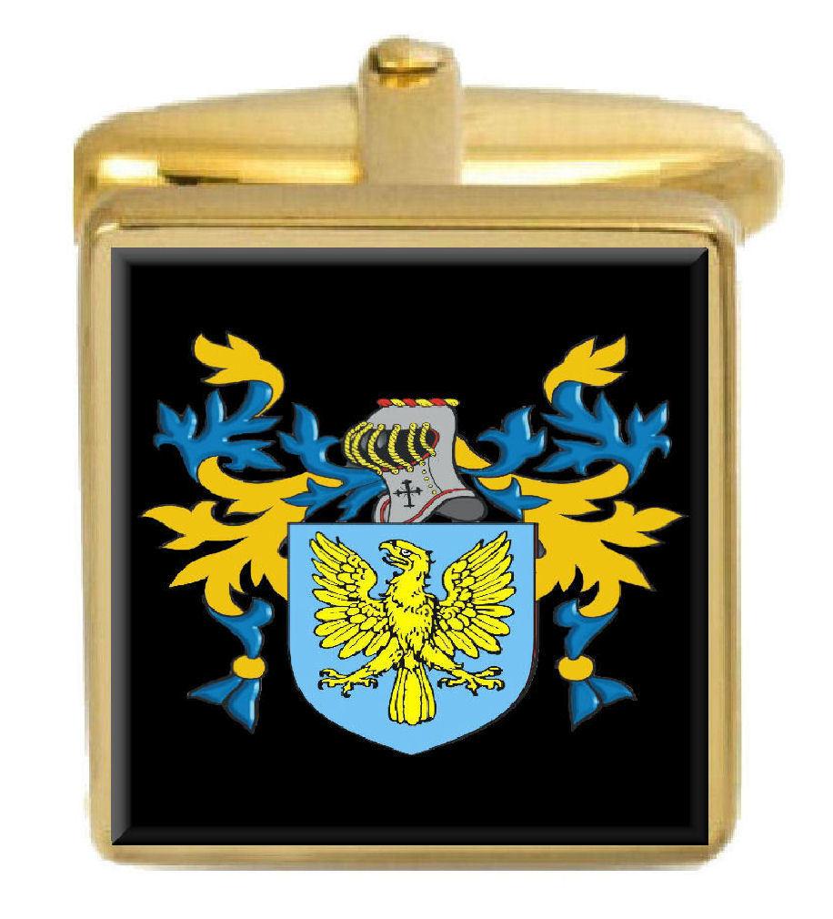 【送料無料】メンズアクセサリ― イギリスカフスボタンボックスコートnancarrow england family crest surname coat of arms gold cufflinks engraved box