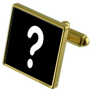 【送料無料】メンズアクセサリ― クイズマスターカフスリンクネクタイピンセットquiz master question mark goldtone cufflinks crystal tie clip gift set