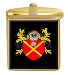 【送料無料】メンズアクセサリ― カレーカフスリンクcurry england family crest surname coat of arms gold cufflinks engraved box