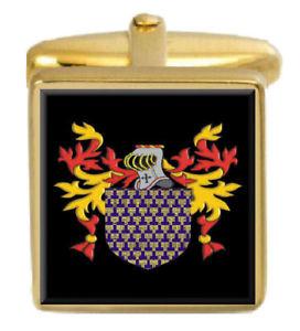 【送料無料】メンズアクセサリ― イギリスカフスボタンボックスコートbusbridge england family crest surname coat of arms gold cufflinks engraved box