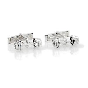 【送料無料】メンズアクセサリ― sterling3d barbell cufflinkssterling silver 3d barbell cufflinks