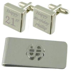 【送料無料】メンズアクセサリ― スクエアカフスボタンドルマネークリップセットhappy 21st birthday engraved square cufflinks dollar money clip gift set