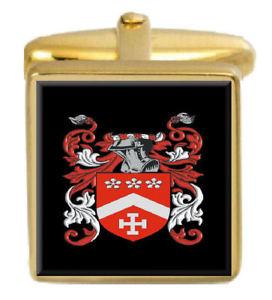 【送料無料】メンズアクセサリ― イギリスカフスボタンボックスコートtitley england family crest surname coat of arms gold cufflinks engraved box