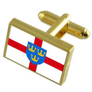 【送料無料】メンズアクセサリ― イーストアングリアフラグカフスリンクeast anglia county england gold flag cufflinks engraved box