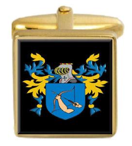 【送料無料】メンズアクセサリ― タイソーイングランドカフスボタンボックスコートtysoe england family crest surname coat of arms gold cufflinks engraved box