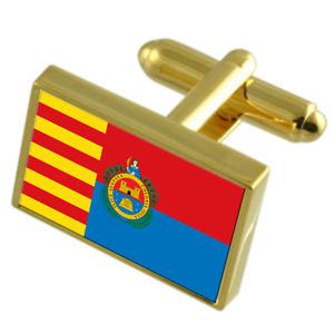 【送料無料】メンズアクセサリ― エルチェスペインゴールドフラッグカフスボタンボックスelche city spain gold flag cufflinks engraved box