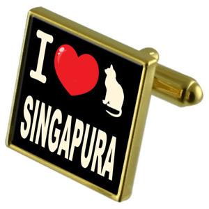【送料無料】メンズアクセサリ― カフスボタンマネークリップシンガプーラi love my cat goldtone cufflinks money clip singapura