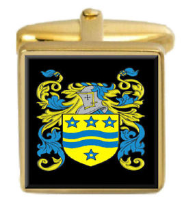 【送料無料】メンズアクセサリ― カフスボタンボックスコートgwerystan wales family crest surname coat of arms gold cufflinks engraved box