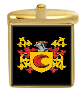 【送料無料】メンズアクセサリ― ゴールドカフスリンクbloom england family crest surname coat of arms gold cufflinks engraved box
