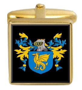 【送料無料】メンズアクセサリ― haineカフスリンクhaine england family crest surname coat of arms gold cufflinks engraved box