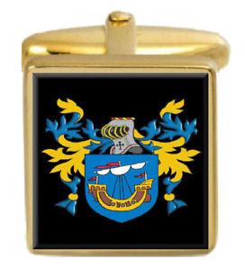 【送料無料】メンズアクセサリ― マイルズカフスリンクmyles england family crest surname coat of arms gold cufflinks engraved box