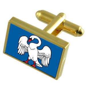 【送料無料】メンズアクセサリ― jonavaリトアニアフラグカフスリンクjonava city lithuania gold flag cufflinks engraved box