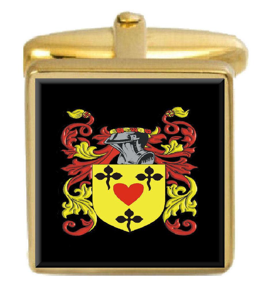 【送料無料】メンズアクセサリ― イギリスカフスボタンボックスコートpassmore england family crest surname coat of arms gold cufflinks engraved box