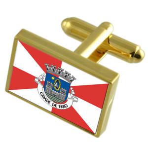 【送料無料】メンズアクセサリ― ファロシティポルトガルゴールドフラッグカフスボタンボックスfaro city portugal gold flag cufflinks engraved box