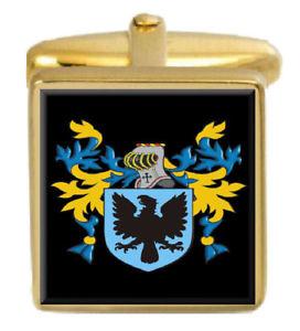 【送料無料】メンズアクセサリ― イギリスカフスボタンボックスコートyerburgh england family crest surname coat of arms gold cufflinks engraved box