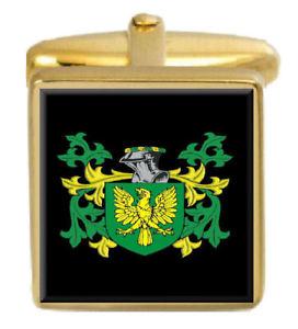 【送料無料】メンズアクセサリ― イギリスカフスボタンボックスコートternent england family crest surname coat of arms gold cufflinks engraved box