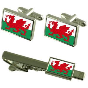 【送料無料】メンズアクセサリ― ウェールズフラグカフスボタンタイクリップマッチングボックスセットwales the red dragon flag cufflinks tie clip matching box gift set