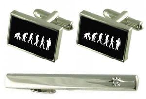 【送料無料】メンズアクセサリ― タイクリップカフスボタンgift set tie clip evolution ape to man doctor cufflinks