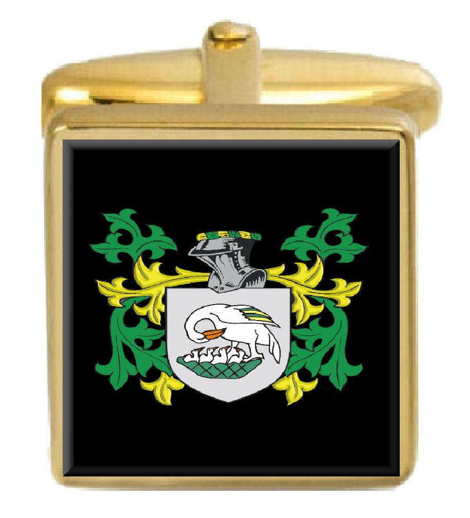 【送料無料】メンズアクセサリ― イギリスカフスボタンボックスコートsouthon england family crest surname coat of arms gold cufflinks engraved box