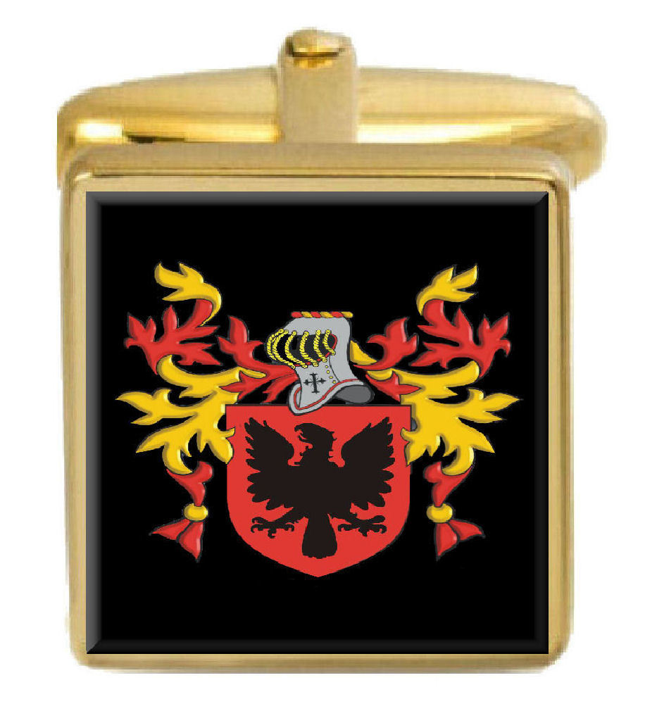 【送料無料】メンズアクセサリ― イギリスカフスボタンボックスコートparrett england family crest surname coat of arms gold cufflinks engraved box