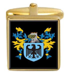 【送料無料】メンズアクセサリ― イングランドカフスボタンボックスコートminshall england family crest surname coat of arms gold cufflinks engraved box