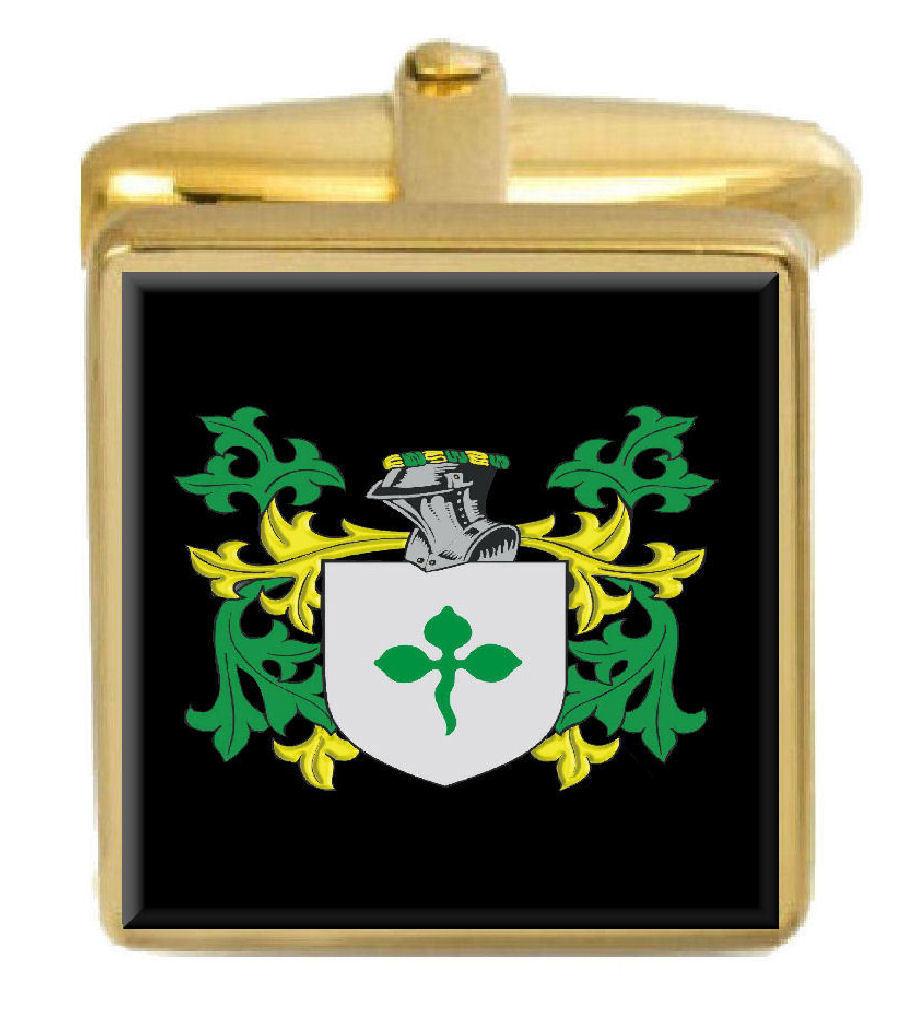【送料無料】メンズアクセサリ― イギリスカフスボタンボックスコートstirton england family crest surname coat of arms gold cufflinks engraved box
