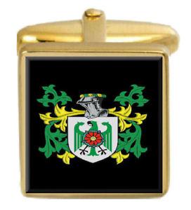 【送料無料】メンズアクセサリ― イギリスカフスボタンボックスコートdainton england family crest surname coat of arms gold cufflinks engraved box