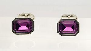 【送料無料】メンズアクセサリ― スワロフスキーアメジストイアンフラハティカフリンクスカフスボタンカフリンクスswarovski amethyst crystal cufflinks by ian flaherty cufflinks,octagon cufflinks
