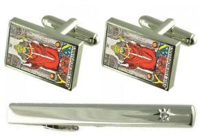 【送料無料】メンズアクセサリ― タイクリップカードカフスボタンセットgift set tie clip tarot hieophant card cufflinks