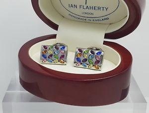 【送料無料】メンズアクセサリ― スワロフスキークリスタルカフスボタンイアンフラハティレディースswarovski multi coloured navette crystal cufflinks,men or ladies by ian flaherty