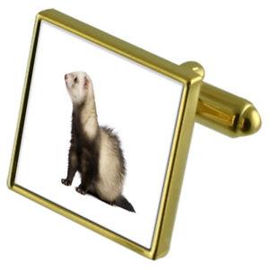 【送料無料】メンズアクセサリ― フェレットカフスボタンクリスタルタイクリップセットferret goldtone cufflinks crystal tie clip gift set