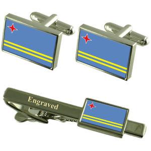 【送料無料】メンズアクセサリ― アルバカフスボタンタイクリップマッチングボックスaruba flag cufflinks engraved tie clip matching box set