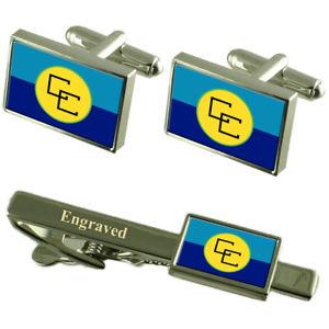 【送料無料】メンズアクセサリ― カリブカフスボタンタイクリップマッチングボックスcaricom flag cufflinks engraved tie clip matching box set