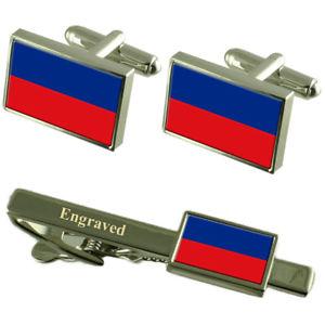 【送料無料】メンズアクセサリ― ハイチカフスボタンタイクリップマッチングボックスhaiti flag cufflinks engraved tie clip matching box set