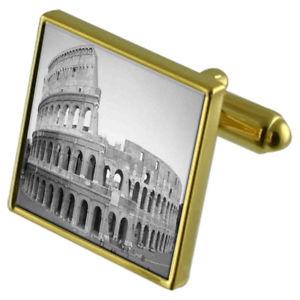 【送料無料】メンズアクセサリ― ローマコロシアムカフスボタンクリスタルタイクリップセットrome coliseum goldtone cufflinks crystal tie clip gift set
