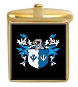 【送料無料】メンズアクセサリ― イギリスカフスボタンボックスコートbermingham england family crest surname coat of arms gold cufflinks engraved box