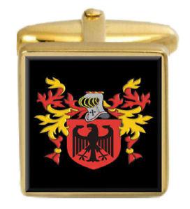 【送料無料】メンズアクセサリ― イギリスカフスボタンボックスコートkitchenham england family crest surname coat of arms gold cufflinks engraved box