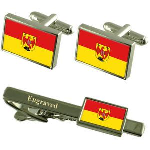 【送料無料】メンズアクセサリ― ブルゲンラントカフスボタンタイクリップマッチングボックスburgenland flag cufflinks engraved tie clip matching box set